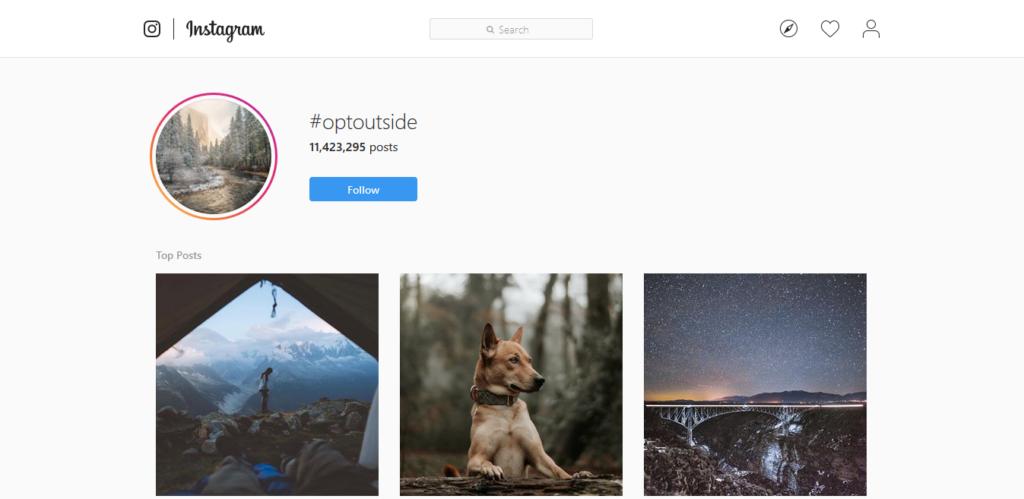 Hashtag di Instagram #optoutside della strategia