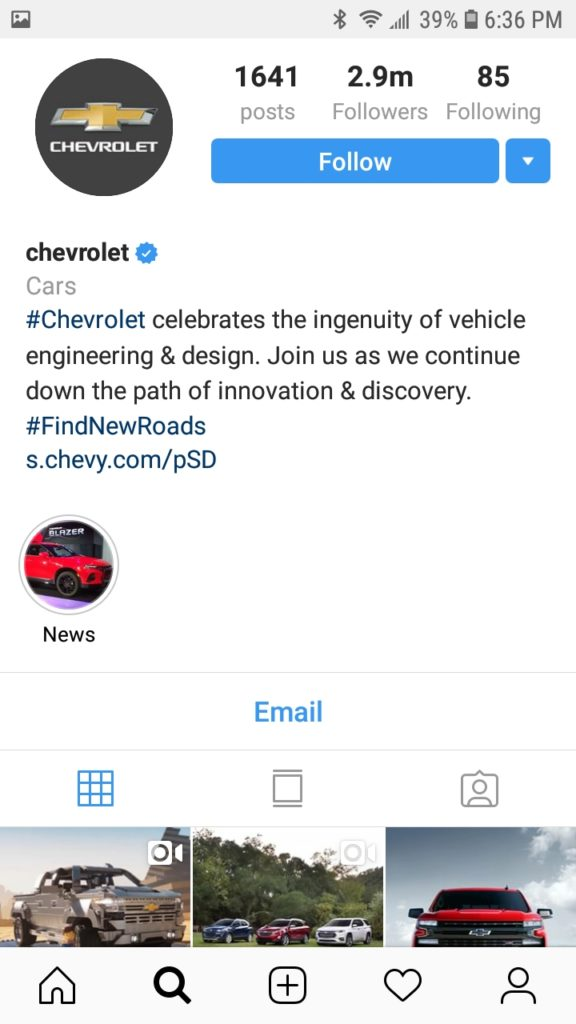 Hashtag di Instagram Chevrolet
