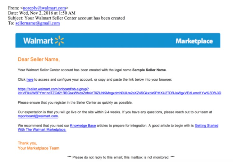 vendita su email di invito walmart marketplace