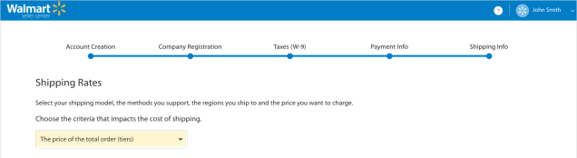 vendendo su walmart marketplace shipping