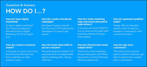 Domande poste frequentemente dai nostri clienti, inserite nella homepage di DigitalMarketer