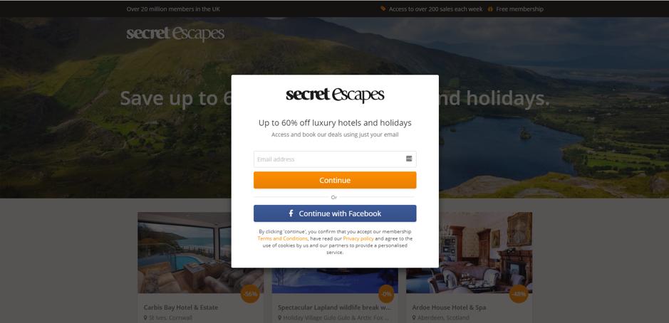 Secret Escapes pagina non personalizzata