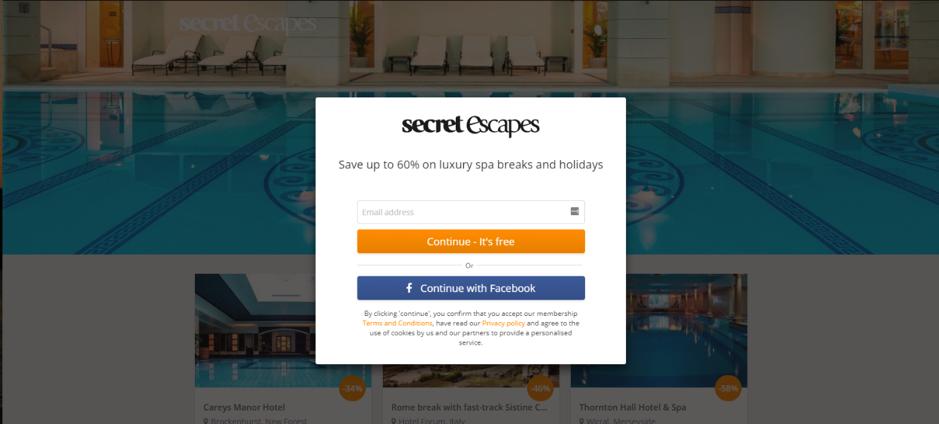 Secret Escapes pagina personalizzata