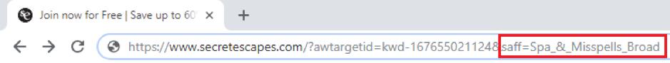 Secret Escapes URL della campagna