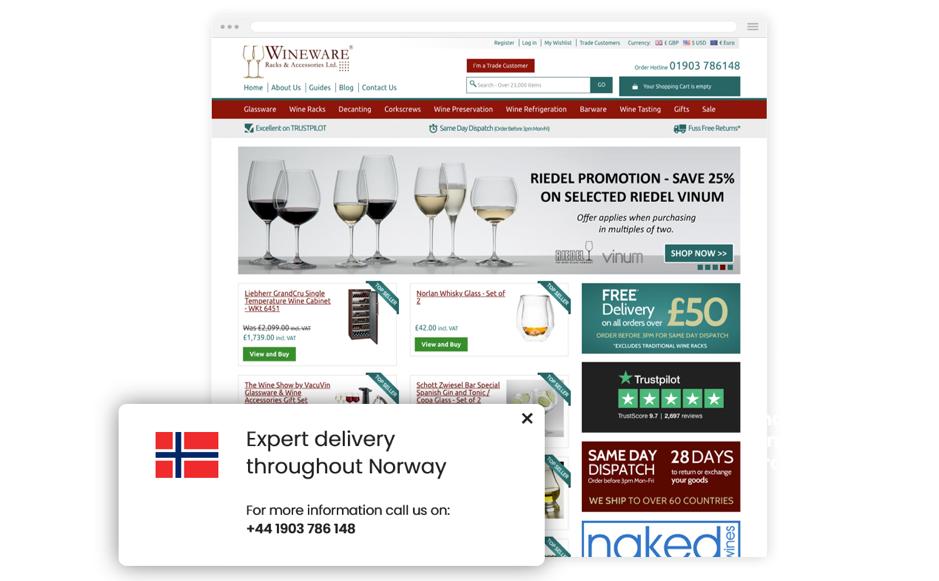 Messaggio di rassicurazione di Wineware