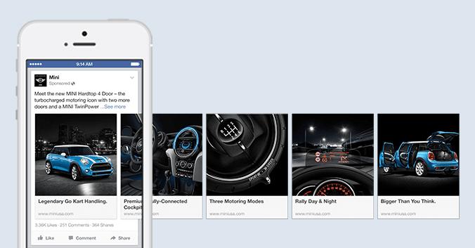 Esempio di carosello delle linee guida sugli annunci di Facebook