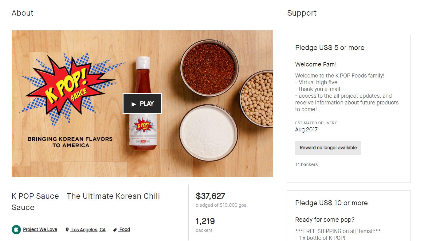 lancio kpop food kickstarter