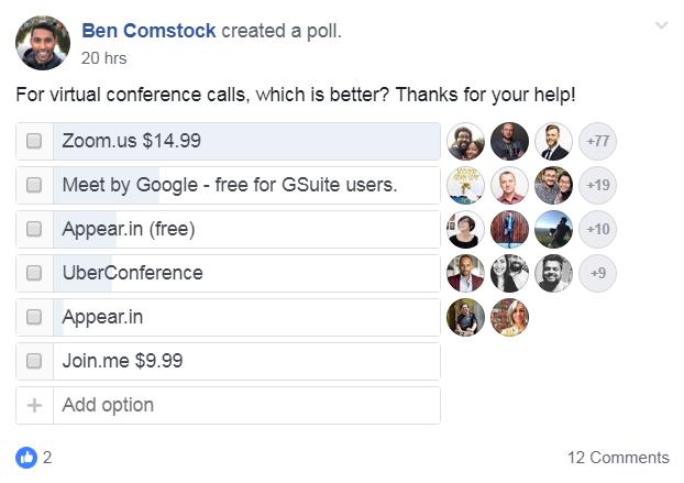 sondaggio di facebook