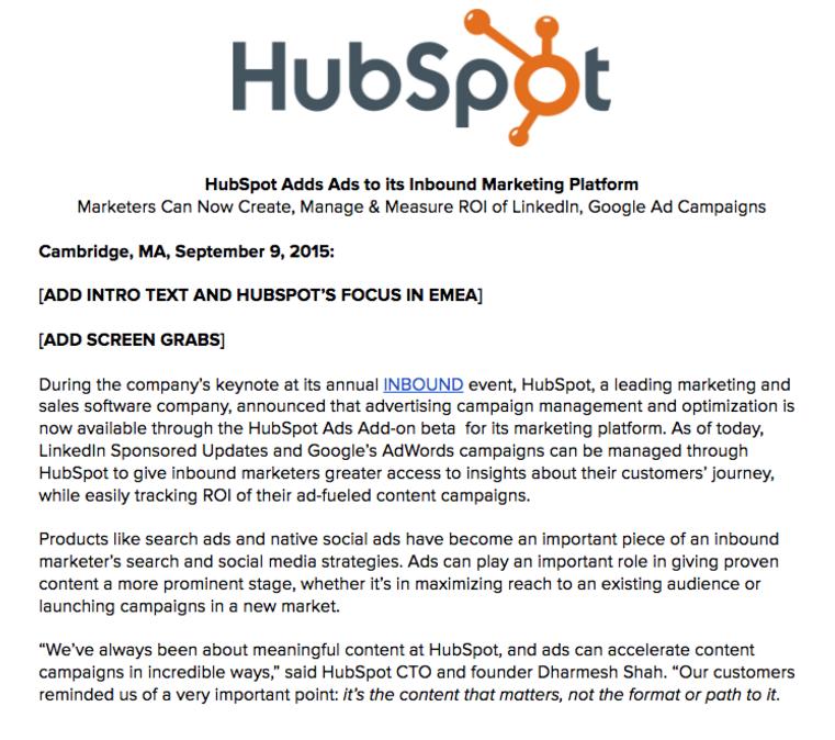 comunicato stampa pre-prodotto hubspot