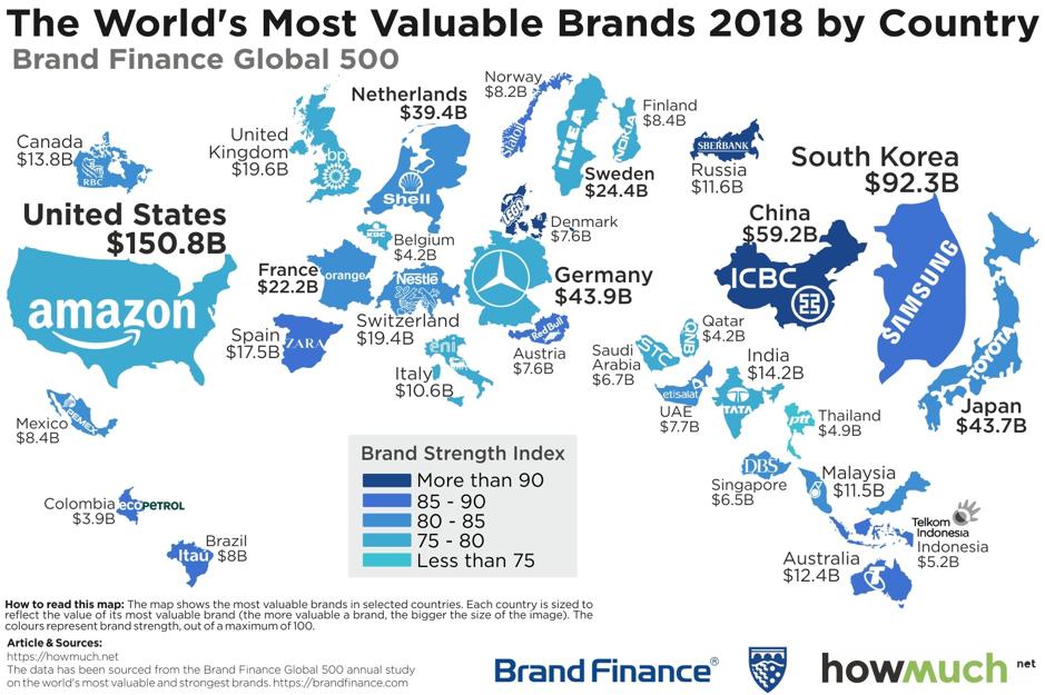 I marchi più preziosi del mondo nel 2018 per paese