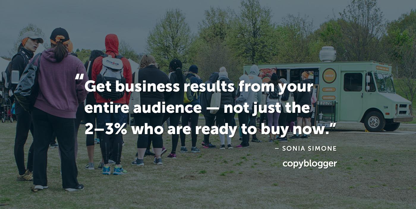 Ottieni risultati di business da tutto il tuo pubblico - non solo il 2-3 percento che è pronto ad acquistare ora. - Sonia Simone
