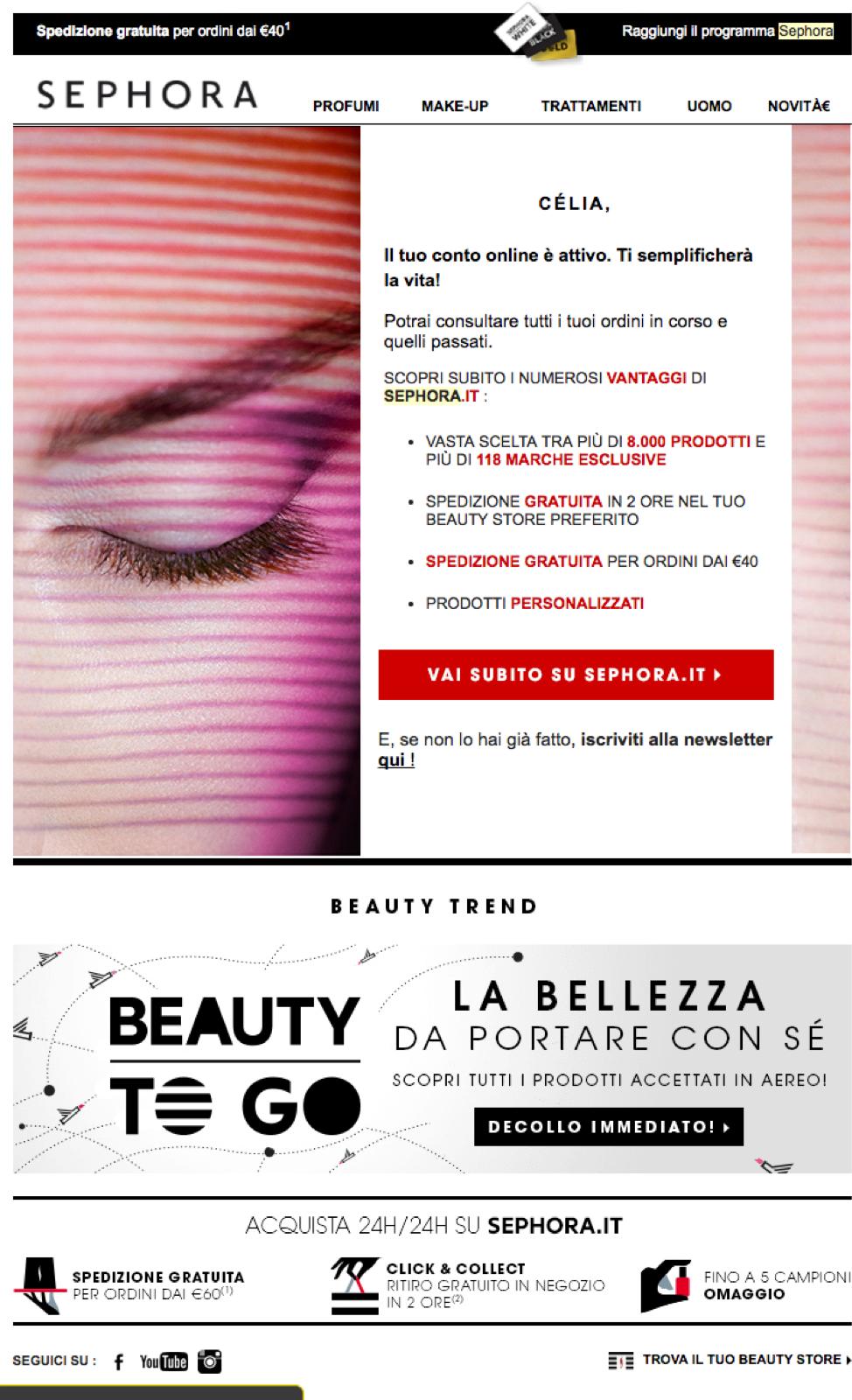 Email di benvenuto di Sephora in italiano