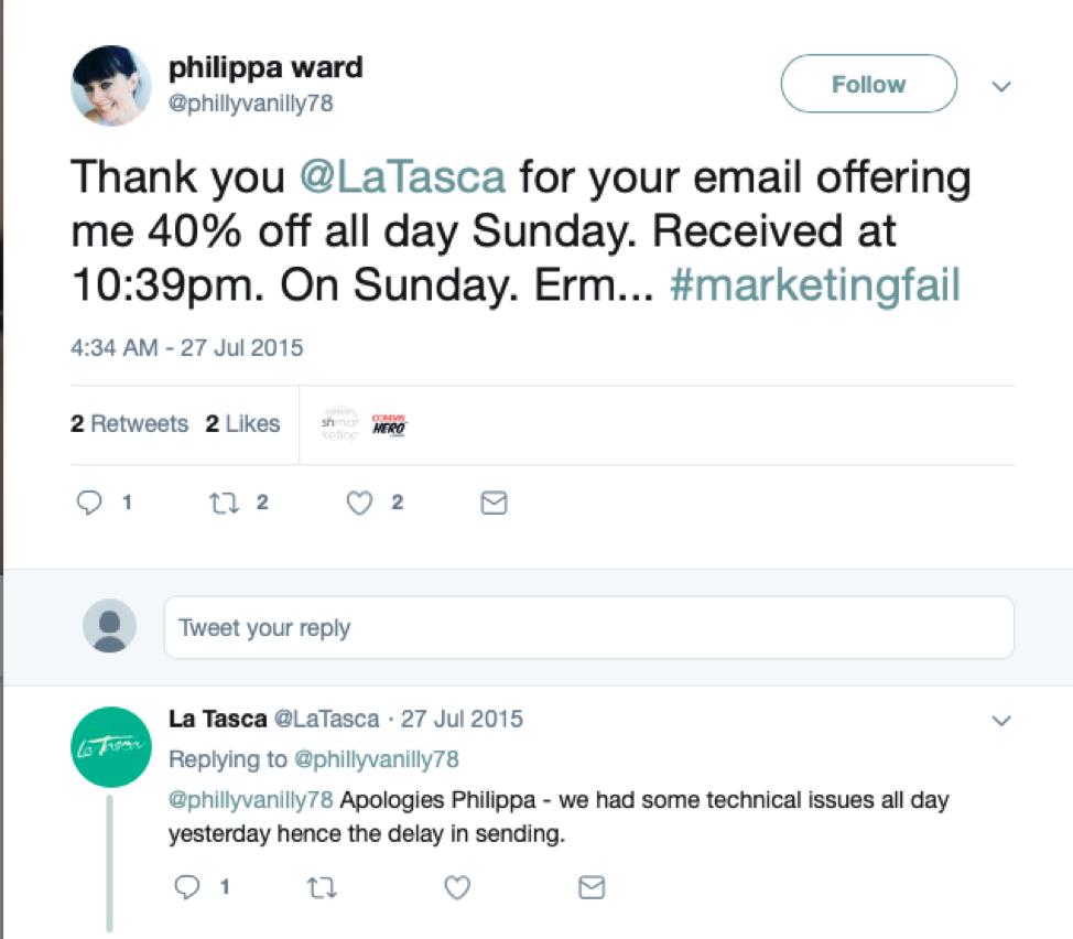 Philippa Ward invia un tweet a La Tasca