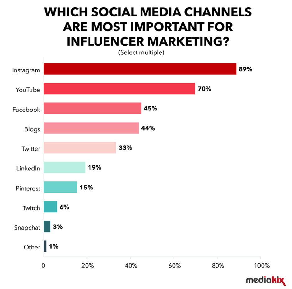 canali di social media per influencer marketing