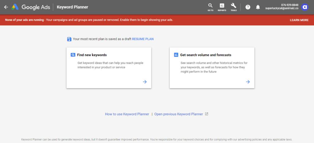 Pubblicità CPC per Google Keyword Planner