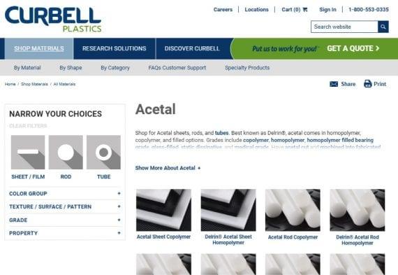 homepage della plastica di Curbell