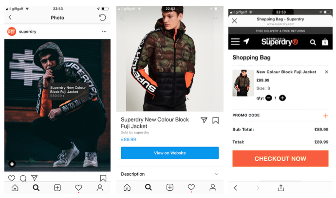 Post Instagram superdry shoppable