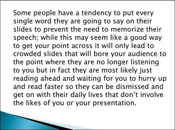 l'immagine di powerpoint punta a non mettere troppo testo su una diapositiva