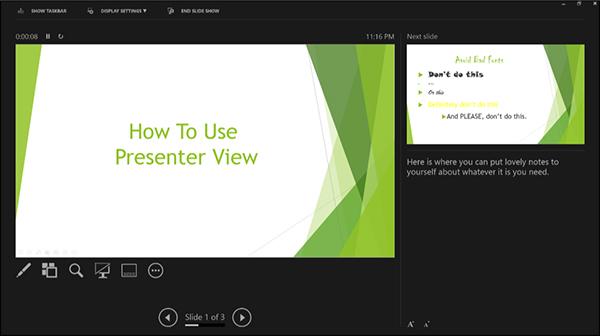 Suggerimento per Powerpoint sull'uso della modalità presenter