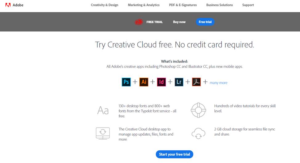 CTA di prova gratuita di Adobe