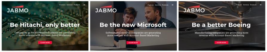 personalizzazione del sito Web di jabmo abm