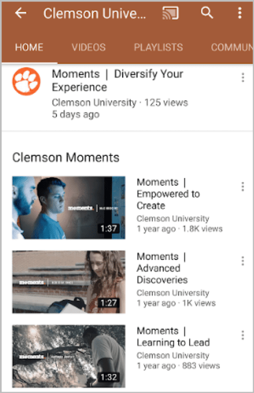 Clemson Moments video di YouTube