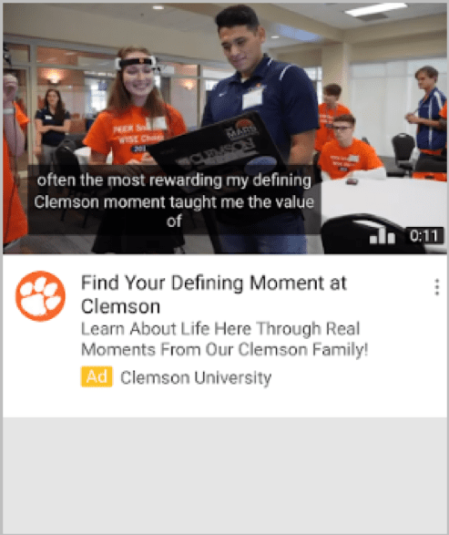 Annuncio video della Clemson University