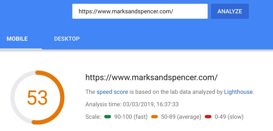 marksandspencer.com velocità di caricamento della pagina