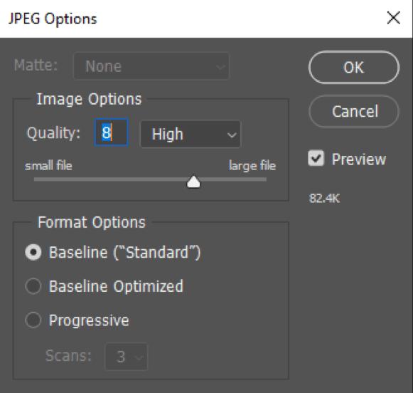 Opzioni JPEG