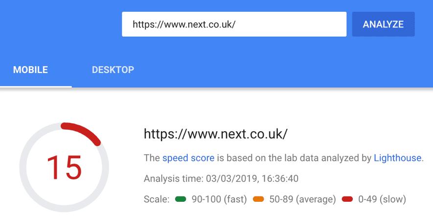 velocità di caricamento della pagina next.co.uk