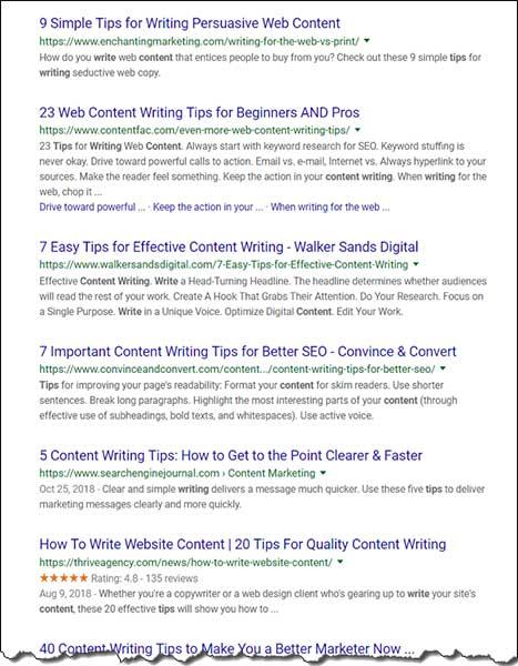 Cerca suggerimenti per la scrittura di contenuti che mostrino i migliori risultati