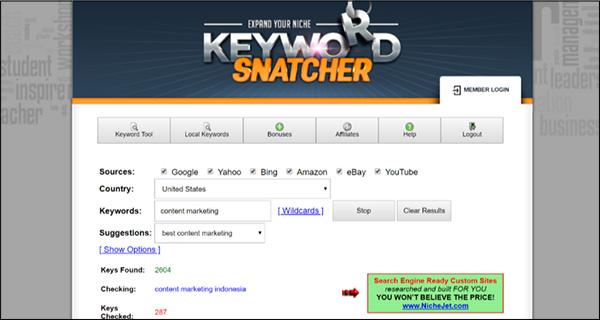 Strumento per la ricerca di parole chiave Snatcher per parole chiave
