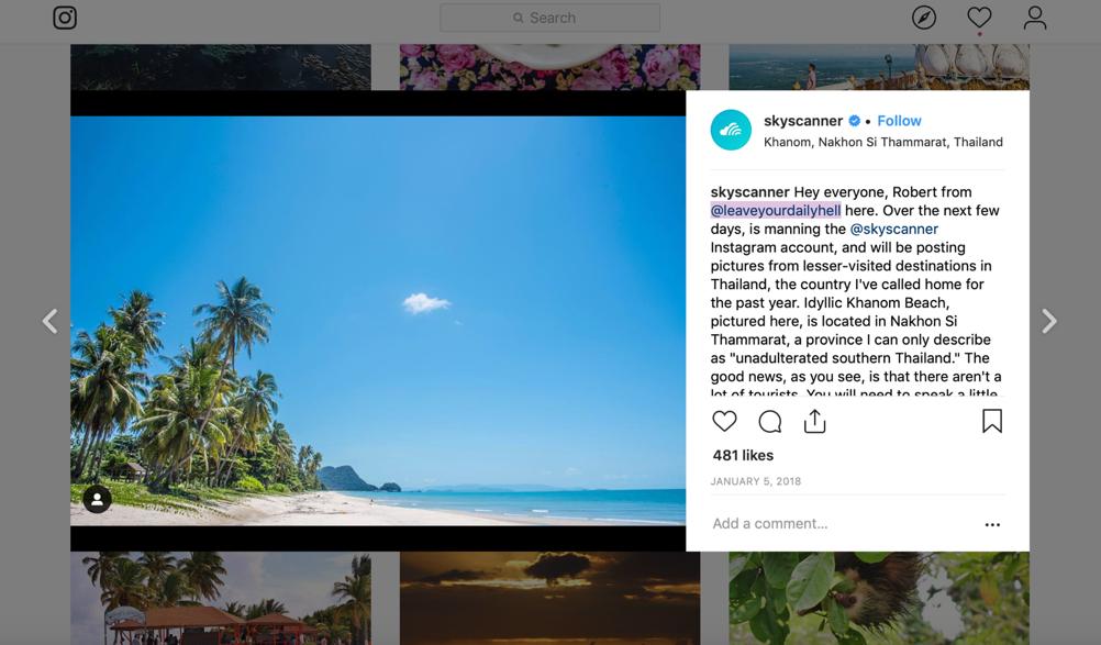 Scoperta di Instagram Skyscanner