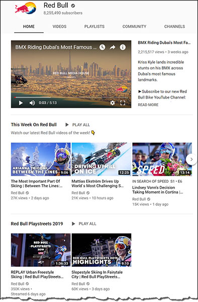Schermata dei post di Red Bull su YouTube Social