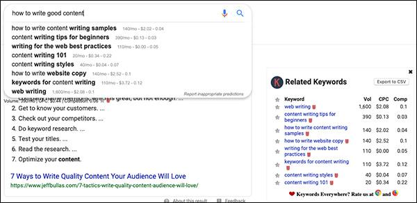 Ricerca Google per suggerimenti per la scrittura di contenuti che mostrano parole chiave e domande correlate