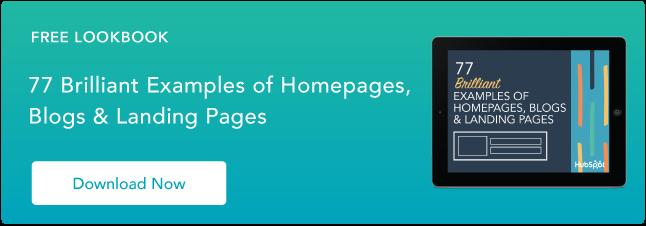 esempi di brillante homepage, blog e design della pagina di destinazione