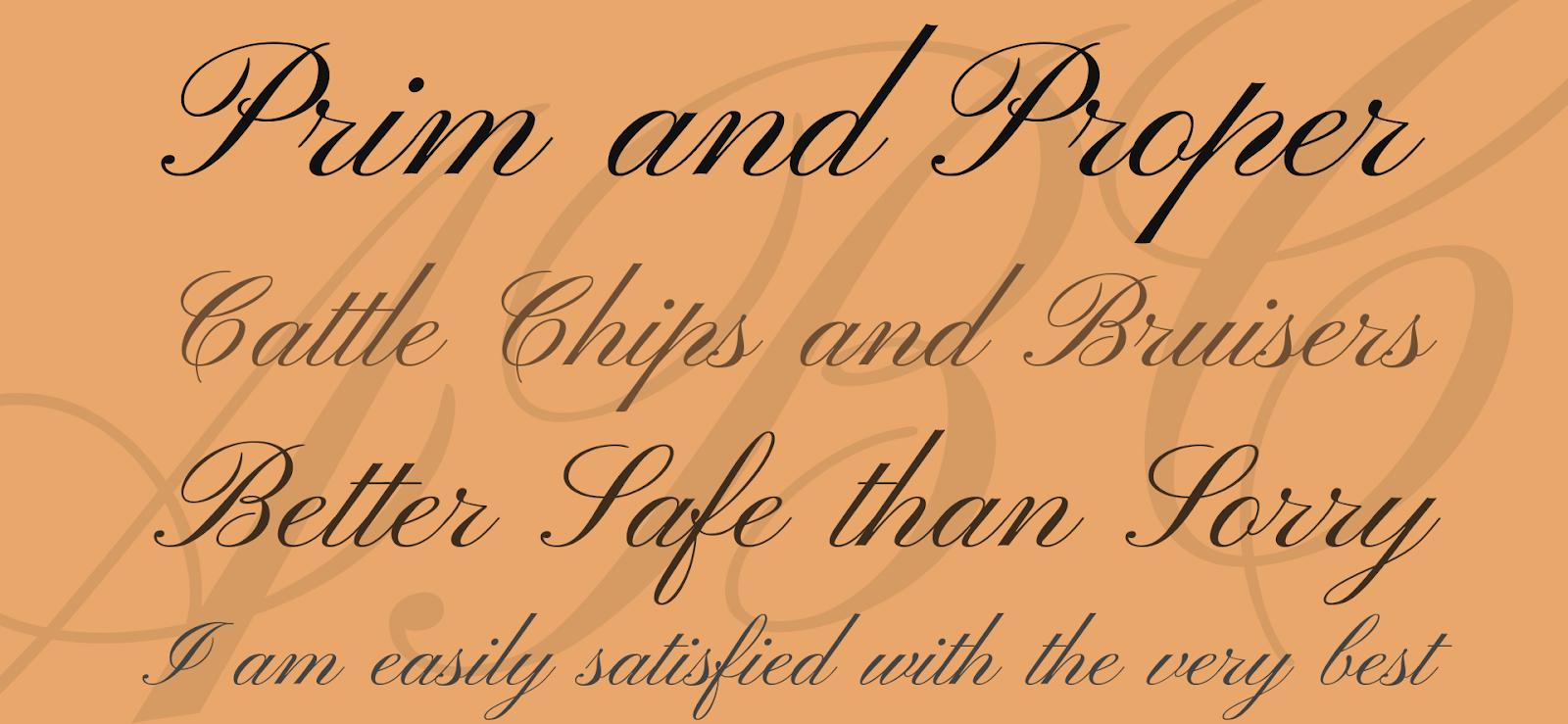 Font calligrafico vecchio stile chiamato Pinyon Script