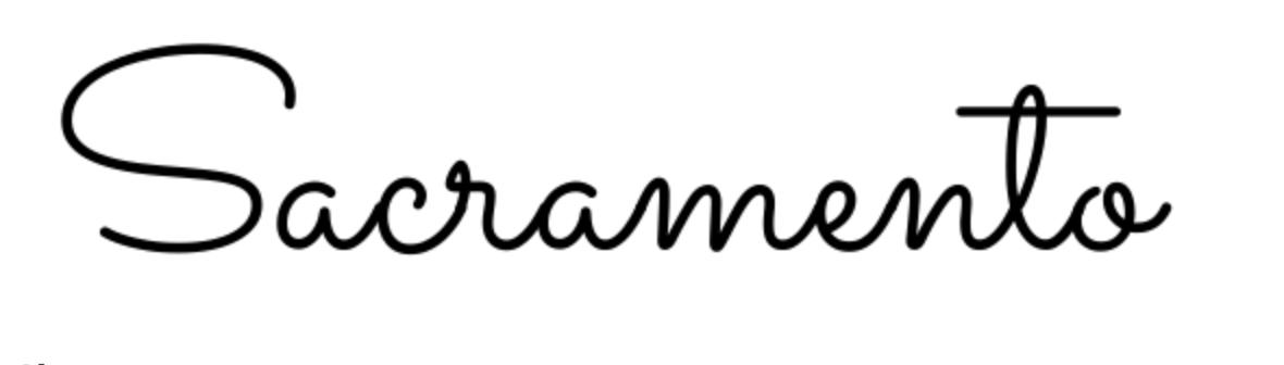 Font calligrafico funky chiamato Sacramento