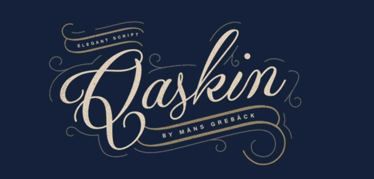 Tipo di carattere calligrafico robusto ed aperto chiamato Qaskin Black Personal Use