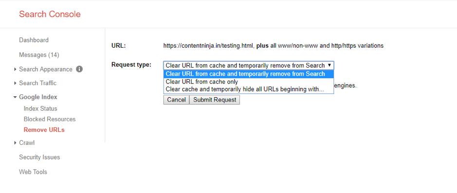Cancella l'URL dalla cache su Search Console