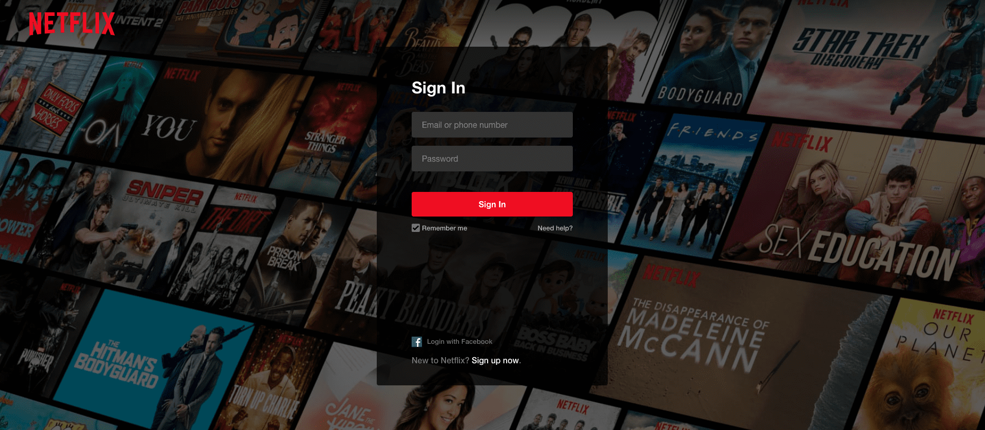 Pagina di accesso di Netflix
