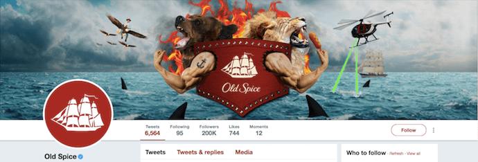 Immagine di intestazione Twitter divertente di Old Spice