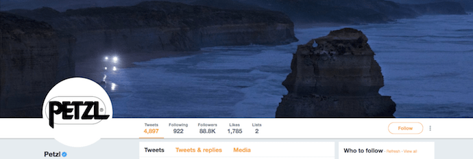 Raffreddare l'immagine di intestazione di Twitter di Petzl