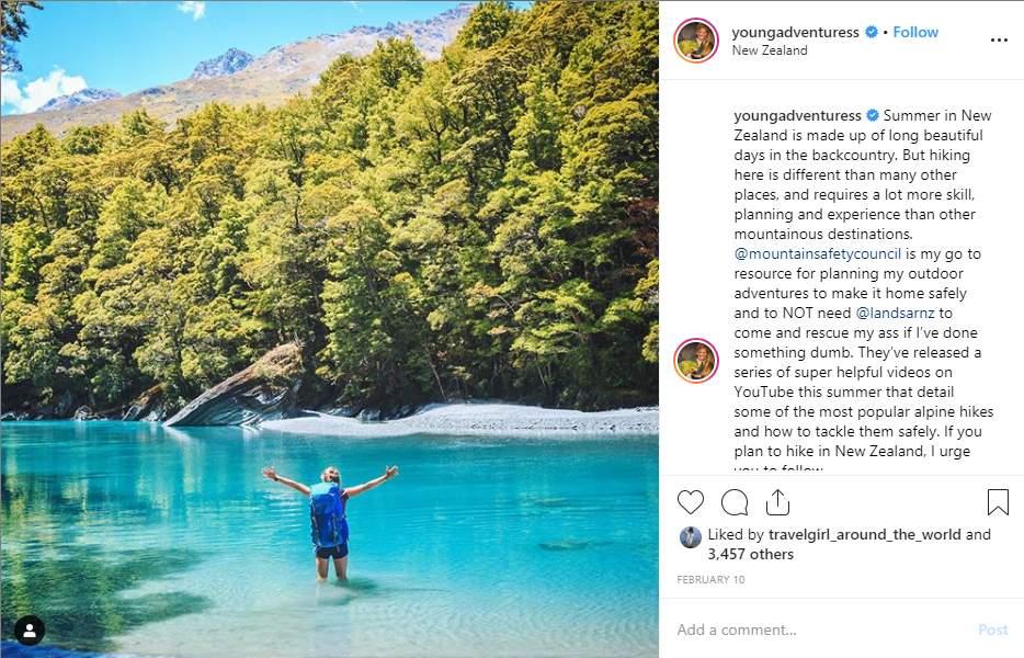 Post su Instagram influencer di avventura