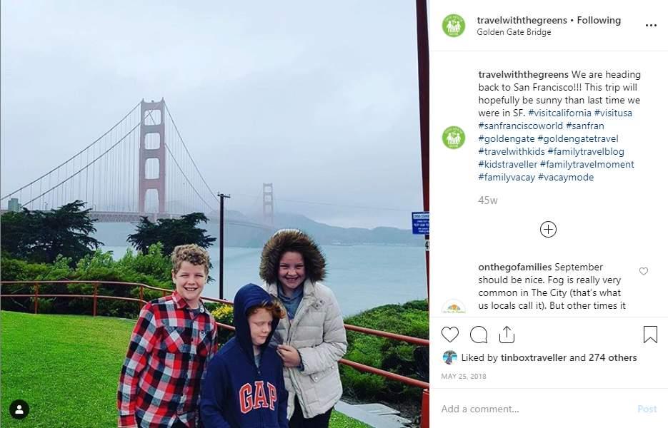 Post su Instagram per viaggi familiari