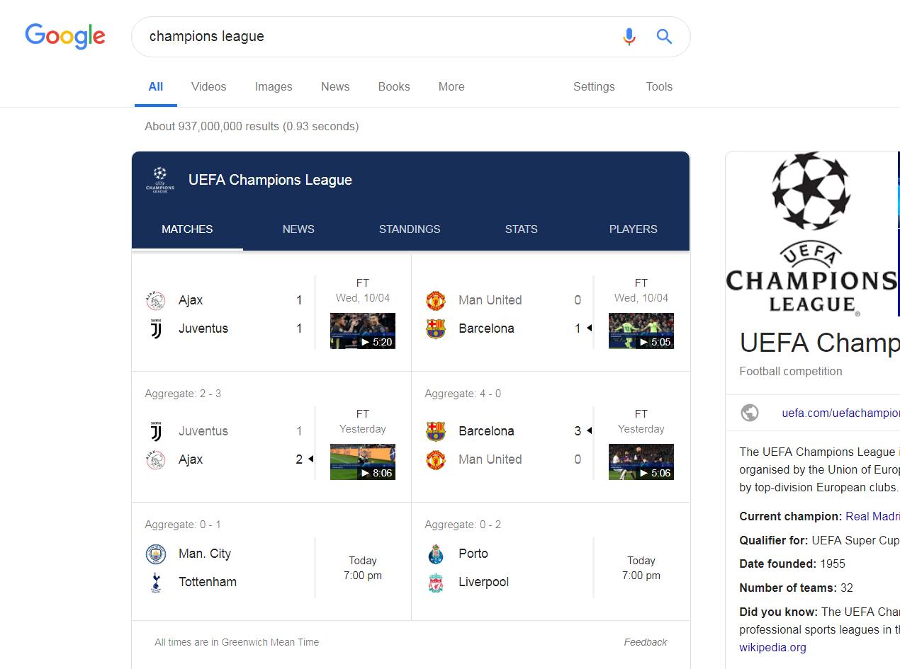SERP variabile per la Champions League