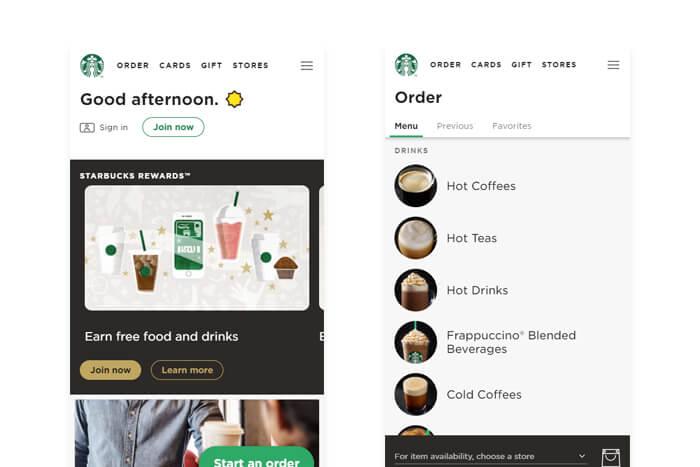Applicazione web progressiva di Starbucks