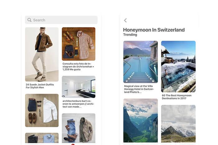 Applicazione web progressiva di Pinterest