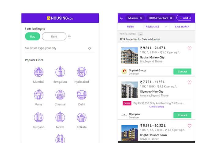 Applicazione web progressiva di Housing.com