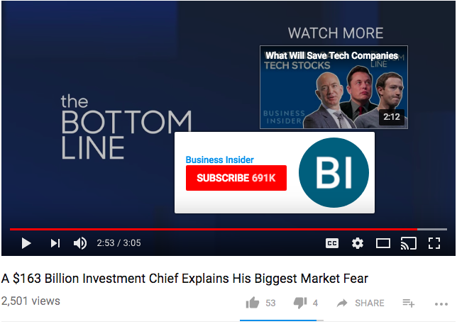 CTA per abbonamenti YouTube: Business Insider